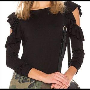Susana Monaco black ruffle cold-shoulder top sz S
